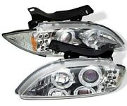 Fits 95-99 Chevy Cavalier Chrome Dual Halo Projector Led Headlights Left+right