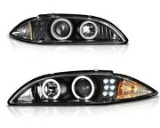 Fits 95-99 Chevy Cavalier Black Dual Halo Projector Led Headlights Left+right