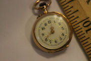 Vintage 14ky Gold Ladies Pocket Watch Antique Does Not Run Jsh