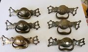 Awesome Set Of 6 Big Heavy Antique Brass Drawer Pulls 3 1/2 Center To Center