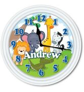 Jungle Zoo Animals Personalized Wall Clock Child Bedroom Baby Nursery Great Gift