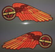Harley-davidson High Reflective Wings Fuel Tank Decals Shovelhead Red And Gold