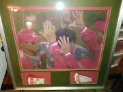 Cincinnati Reds 1990 World Champions Oil Painting With 12 Authentic Tickets