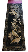 Antique Japanese Gold Threads Embroidered Silk Huge Panel 129.5 L By 39.5 W