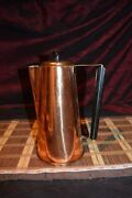Vintage Copper Coffee Pot Teapot With Brass And Wood Handle 9 3/8x6 1/2