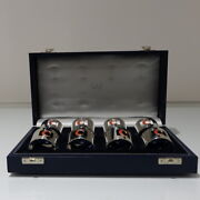 Set 8 Cased Silver And Enamelled Napkin Rings Retailed By Crawford
