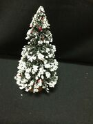 1 Snow Red Berry Christmas Holiday Table Top Train Mini Brush Tree Wood Base