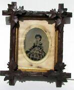 Old 19th C. Antique Tintype Or Daguerreotype Photo In Tramp Frame