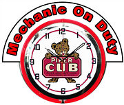 Piper Cub W/ Mechanic On Duty Red Marquee 19 Red Neon Clock Mancave