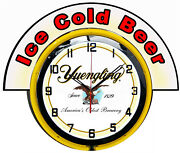 Yuengling Beer W/ Ice Cold Beer Marquee 19 Yellow Neon Clock Mancave