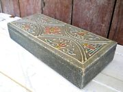 Antique Art Nouveau Victorian Wood Glove Box 1890s Silver Gesso French Country