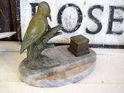 Antique Victorian French Country Woodpecker Bird Inkwell Rare Art Nouveau Office