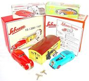 Schuco Command Car 2000 + Wende-limousine Wind-up Tin Toy Car And Garage Set 1 Mib