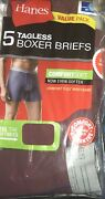5pk Hanes Tagless Boxer Briefs With Comfort Soft Waistband Assorted Colors