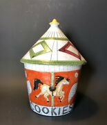 Fratelli Fanciullacci Pottery Lidded Cookie Jar Carousel Horses Italy 1950s-60s