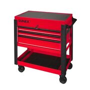 3 Drawer Utility Cart With Sliding Top - Red Sun8035xt Brand New