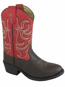 Smoky Childrenand039s Kidand039s Monterey Dark Brown And Red Western Cowboy Boot