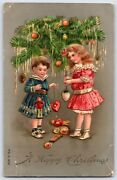 1900and039s Christmas Greetingspost Card Victorian Girls Under Tree