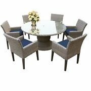 Florence 60 Outdoor Patio Dining Table With 6 Chairs With Arms In Navy
