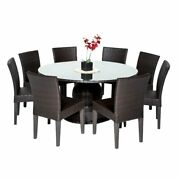 Barbados 60 Outdoor Patio Dining Table W/ 8 Armless Chairs