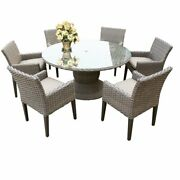 Florence 60 Outdoor Patio Dining Table With 6 Chairs With Arms In Beige