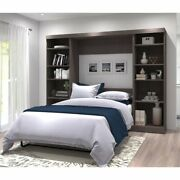 Bestar Pur 109 Full Wall Bed With Storage In Bark Gray