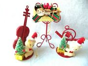 Vtg Red Metal Musical Instruments And Fuzzy Bear Christmas Ornament Lot 3 Horn+