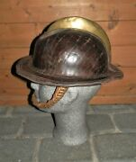 Antique 'miners Colliery Fire-brigade' Leather Solid Hat W/ Brass Top And Chain