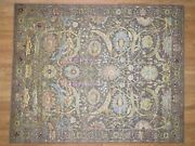 8and039x10and039 Handknotted Sickle Leaf Design Pure Silk With Oxidized Wool Rug G40811