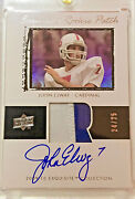 2009-10 Ud Exquisite John Elway Flashback Rookie Rare Auto Patch Rc 24/25
