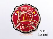 Fireman Badge Iron On Patch Red Firefighter Hero Sign Blazon Perfect Fire Dept