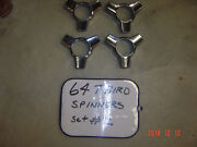 64 Ford Thunderbird Spinners For Wheel Covers Hubcaps Nice Shine Chrome Set 2