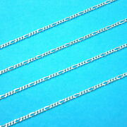 By The Foot 925 Sterling Silver 2mm Figaro Chain Wholesale Lots Bulk Continuous