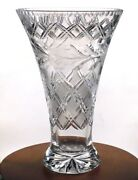 Rare Waterford Cut Crystal Flared Vase 12 Inches Tall Elegant And Very Heavy