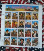 Rare One Of Kind Item Legends Of The West Stamps Signed Clayton Moore Roy Rogers