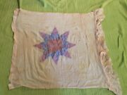 Antique Star Quilt On Thin Cloth Baby Or Doll Bed Cover 1930's-40's