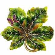 Jay By Jay Strongwater Enamel Painted Leaf Tray Green Enamel And Crystals