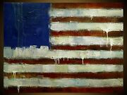 Made To Order - American Flag - Original Painting Modern Abstract Art By Slazo