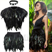 Womens Elastic Waist Feather A-line Mini Skirts Peacock Feather Jacket Cape Tops