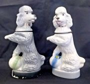 2 Vintage 1970 Jim Beam Penny The Poodle Decanters Regal China White Grey Euc