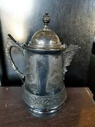 Engraved Ice Pitcher Antique Late 1800and039s Derby Quadruple Silver Plate Victorian