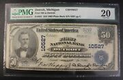 1902 50 Fifty Dollar National Currency Pmg Vf20 Fr681 First Nb In Detroit