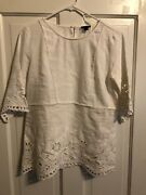 Ann Taylor White Blouse Floral Cutouts Size Small Career Work S