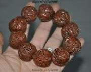 Collect Rare Old Walnut Nuclear Carved Pine Crane Health Care Bracelets Antique