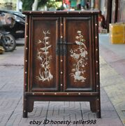 China Huanghuali Wood Inlay Shell Flower Bird Cabinet Storage Lockers Table Desk