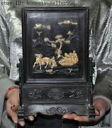 Chinese Ebony Wood Inlay 象 Teeth Carving Pine Old Man Boys Horse Statue Screen