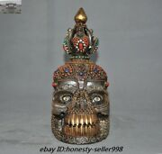 Old Tibetan Temple Crystal Carving Inlay Red Coral Skull Skeletons Head Statue