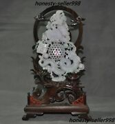 """China Natural Emerald Jade Jadeite Carved Fengshui Dragon Phoenix""""囍""""lucky Statue"""