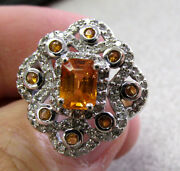 Beautiful Mexican Fire Opal And Diamond Ring 14k White Gold Size 7.5 Make Offer