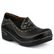 Land039artiste Burbank Womenand039s Black Hand Painted Leather Closed Back Clog Eur 39